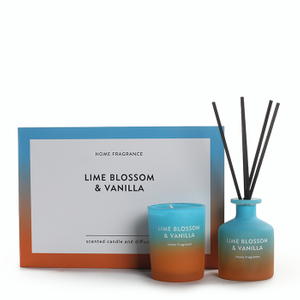 As Simple As Color Collection Lime Blossom&Vanilla 60g Scented Candle 50ml Reed Diffuser Set